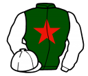dark green, red star, white sleeves and cap