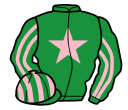 emerald green, pink star, striped sleeves and cap