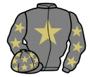grey, beige star, grey sleeves, beige stars and stars on cap