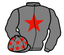 grey, red star and stars on cap