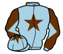 light blue, brown star, diabolo on sleeves and star on cap