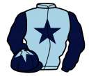 light blue, dark blue star & sleeves, dark blue cap, light blue star