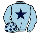light blue, dark blue star, dark blue stars on cap