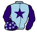 light blue, purple star and sleeves, purple cap, light blue stars