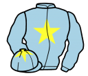 light blue, yellow star and star on cap