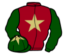 maroon, beige star, dark green sleeves, dark green cap, beige star