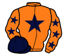 orange, dark blue star, orange sleeves, dark blue stars, dark blue cap