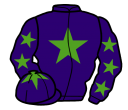 purple, light green star, purple sleeves, light green stars, purple cap, light green star