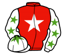red, white star, white sleeves, light green stars, white cap, light green star