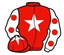 red, white star, white sleeves, red spots, red cap, white star