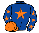 royal blue, orange star, royal blue sleeves, orange stars and cap