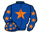 royal blue, orange star, royal blue sleeves, orange stars, royal blue cap, orange stars