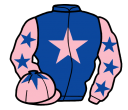 royal blue, pink star, pink sleeves, royal blue stars, pink cap, royal blue star