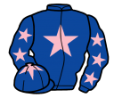 royal blue, pink star on body and cap, royal blue sleeves, pink stars