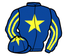 royal blue, yellow star, striped sleeves and star on cap
