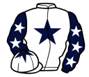 white, dark blue star, dark blue sleeves, white stars, white cap, dark blue star