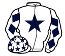 white, dark blue star, diamonds on sleeves, white cap, dark blue stars