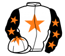 white, orange star, black sleeves, orange stars, white cap, orange star