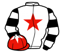 white, red star, black and white hooped sleeves, red cap, white star