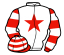 white, red star, red and white hooped sleeves and cap