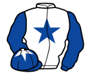 white, royal blue star and sleeves, royal blue cap, white star