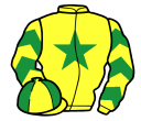 yellow, emerald green star & chevrons on sleeves, quartered cap