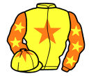 yellow, orange star, orange sleeves, yellow stars, yellow cap, orange star
