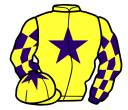 yellow, purple star, purple and yellow check sleeves, yellow cap, purple star