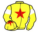 yellow, red star, yellow sleeves, white armlets, yellow cap, red star