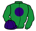 bottle green, purple disc and cap