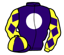 purple, white disc, yellow sleeves, purple diamonds, purple and yellow quartered cap