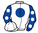 white, royal blue disc, royal blue sleeves, white spots and cap