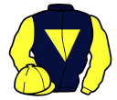 dark blue, yellow inverted triangle, sleeves and cap