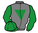 grey, emerald green inverted triangle, sleeves and cap