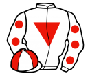 white, red inverted triangle, white sleeves, red spots, quartered cap