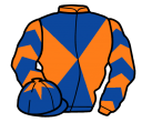 orange and royal blue diabolo, chevrons on sleeves, royal blue cap, orange star