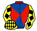 red and royal blue diabolo, yellow sleeves, black diamonds, yellow cap, black diamonds