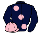 dark blue, large pink spots, pink cap