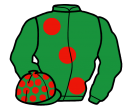 emerald green, large red spots, sleeves and spots on cap