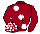 maroon, large white spots, sleeves and spots on cap