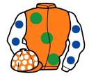 orange, large emerald green spots, white sleeves, royal blue spots, orange cap, white spots