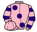 pink, large purple spots, hooped sleeves, pink cap