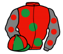 red, large emerald green spots, grey sleeves, red spots, emerald green and red quartered cap