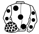 white, large black spots, black spots on sleeves & cap
