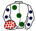 white, large dark green spots, white sleeves, dark blue spots, white cap, red spots