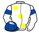 white, large yellow spots, white sleeves, royal blue armlets and diamond on white cap