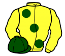 yellow, large dark green spots, dark green cap