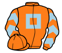 orange, light blue hollow box, chevrons on sleeves